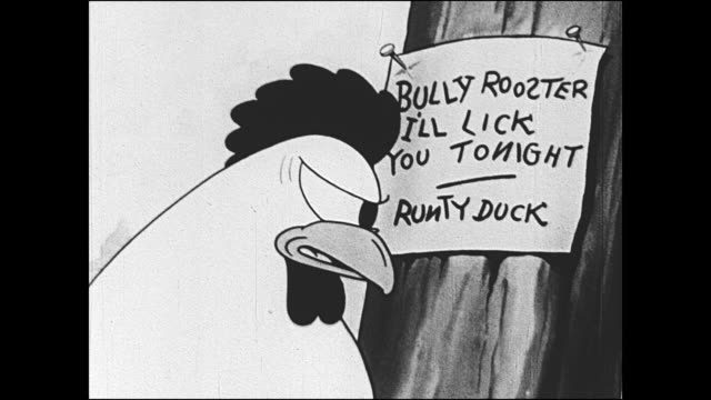 1933 runty duck challenges bully rooster - aggression stock videos & royalty-free footage