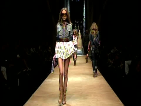 dg runway at milan fashion week s/s 2010 at the dg milan fashion week s/s 2010 at milan - anamorphic stock videos and b-roll footage