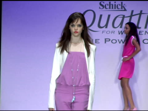 runway show at the gen art and schick quattro for women present the 8th annual fresh faces in fashion show at barker hanger in santa monica... - バーカーハンガー点の映像素材/bロール