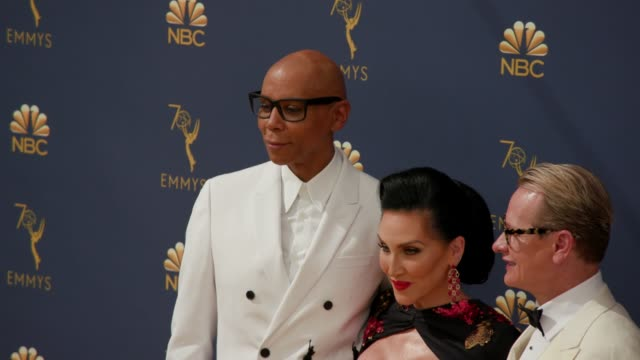 rupaul carson kressley and michelle visage at the 70th emmy awards arrivals at microsoft theater on september 17 2018 in los angeles california - 70th annual primetime emmy awards stock videos and b-roll footage