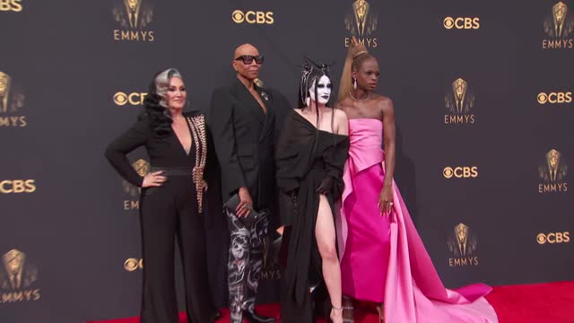 rupaul, michelle visage, gottmik and symone arrive to the 73rd annual primetime emmy awards at l.a. live on september 19, 2021 in los angeles,... - emmy awards stock videos & royalty-free footage