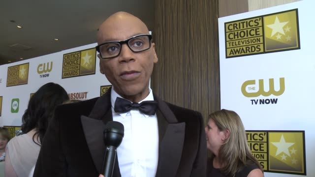 rupaul on his show, and on being nominated at the 2014 critics' choice television awards at the beverly hilton hotel on june 19, 2014 in beverly... - the beverly hilton hotel stock-videos und b-roll-filmmaterial
