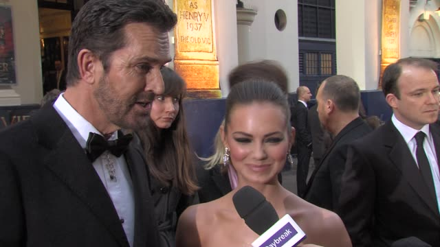 stockvideo's en b-roll-footage met rupert everett kara tointon on the glitz of the evening working in theatre the nerves at the olivier awards at london england - rupert everett