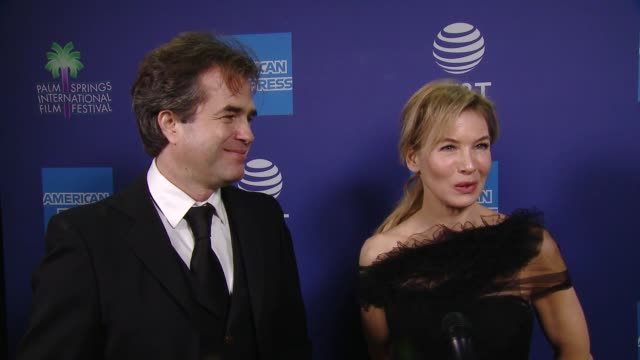 interview rupert goold and renée zellweger at 31st annual palm springs international film festival film awards gala at palm springs convention center... - renée zellweger stock videos & royalty-free footage