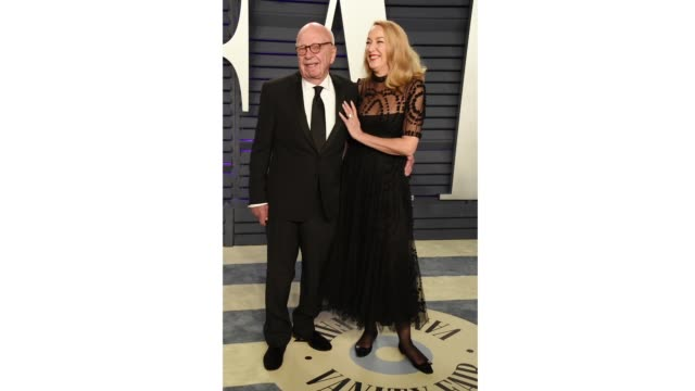 rupert murdoch and jerry hall attend the 2019 vanity fair oscar party hosted by radhika jones at wallis annenberg center for the performing arts on... - vanity fair stock videos and b-roll footage
