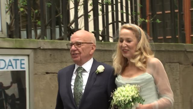rupert murdoch and jerry hall hold service of celebration for their marriage **beware london city of london st bride's church ext rupert murdoch and... - rupert murdoch stock videos and b-roll footage