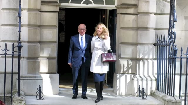 rupert murdoch and jerry hall seen leaving spencer house after getting married on march 04 2016 in london england - rupert murdoch stock videos and b-roll footage