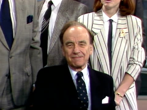 rupert murdoch poses with the presentation team at the launch of sky television; 5 february 1989 - launch event stock videos & royalty-free footage