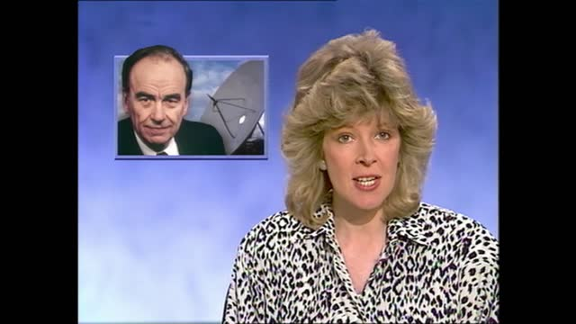 rupert murdoch satellite tv bid: news at one pab; england: london: itn: int julia somerville to camera sot - itv news at one stock videos & royalty-free footage