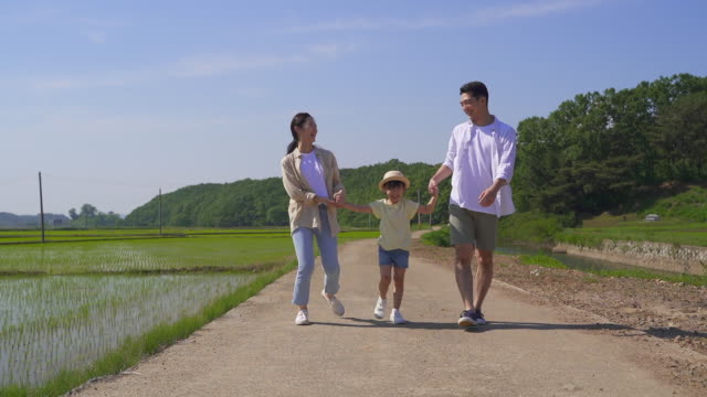 rural activity - family strolling together - 水田点の映像素材/bロール