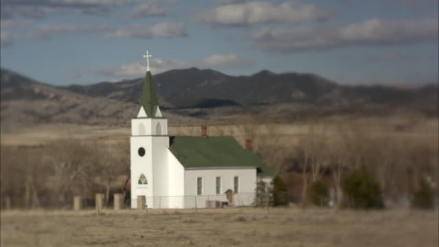 WS, Rural church in field, Montana, USA