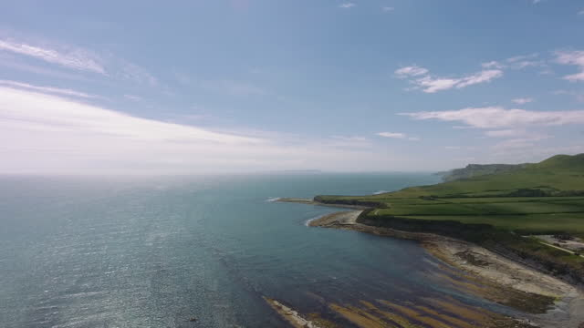 rural coastline aerials - rock face stock videos & royalty-free footage