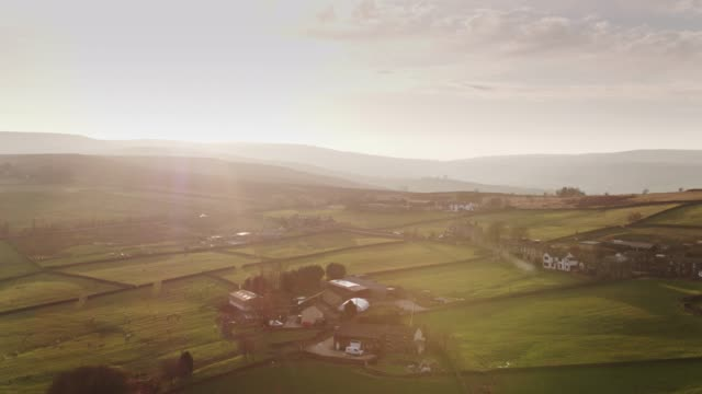 rural english scene at sunset - aerial view - west yorkshire stock videos & royalty-free footage