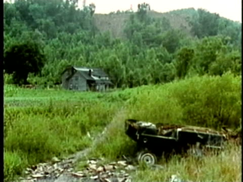 vídeos de stock, filmes e b-roll de 1969 ws rural house in tranquil, remote area/ usa/ audio - appalachia