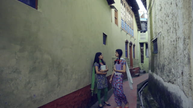 rural indian college students in a village lane. - university student stock videos & royalty-free footage