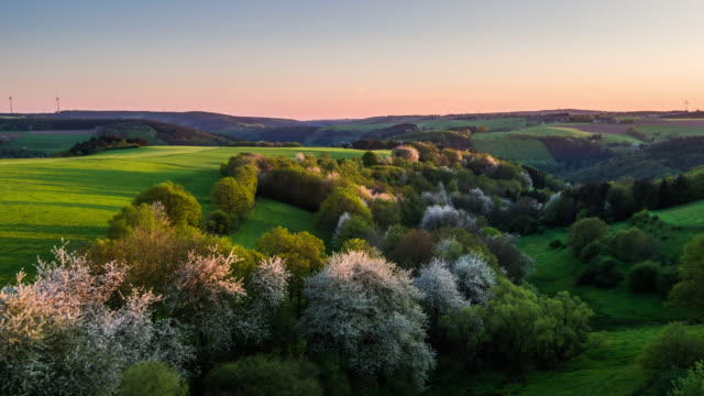 AERIAL: Rural Landscape at Spring Time