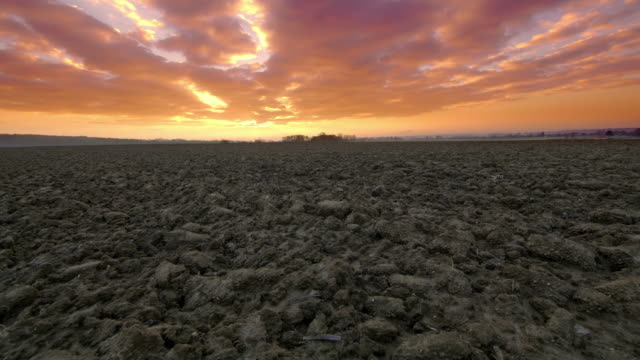 ds rural landscape at sunrise - plowed field stock videos & royalty-free footage