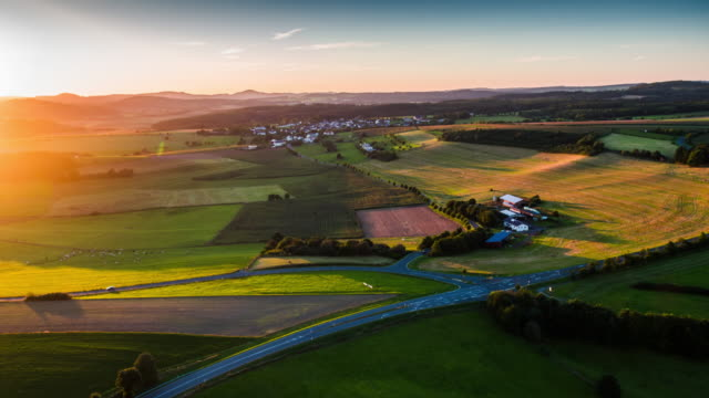 Rural Landscape in Germany Aerial Shot