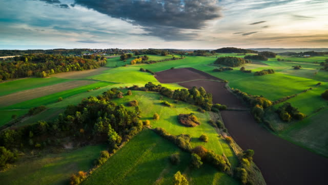 aerial: rural landscape in germany - rolling landscape stock videos & royalty-free footage