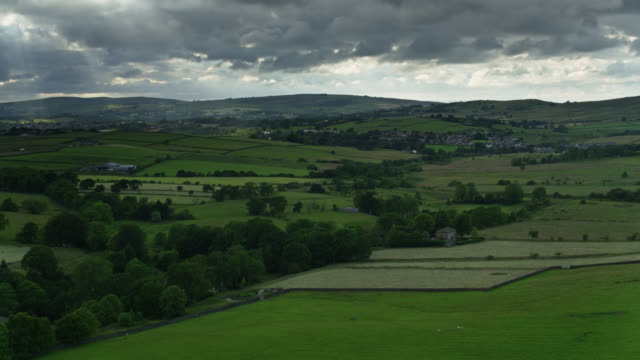 rural landscape in lancashire - aerial view - lancashire stock videos & royalty-free footage