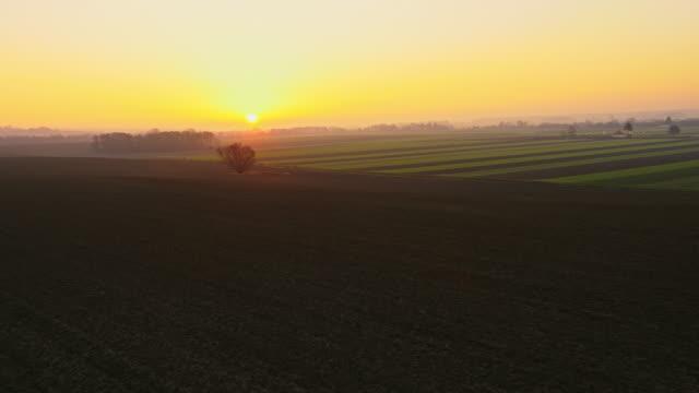 aerial ländliche landschaft in den sonnenuntergang - pflügen stock-videos und b-roll-filmmaterial