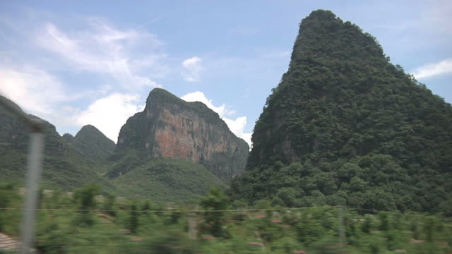 WS SIDE POV Rural landscape with karst rock formations / Yangshuo, Guangxi, China