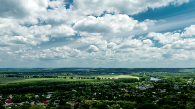 rural scene: cloudscape over valley - moldova stock videos and b-roll footage
