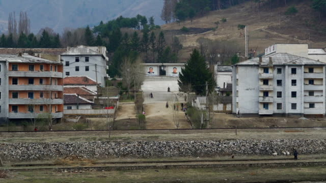 rural scene in north korea, view from china - north korea stock videos & royalty-free footage