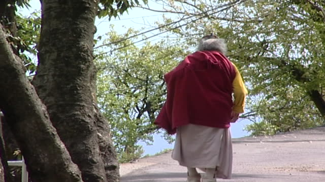 rural scenes dharamsala. static shot of the back of an elderly buddhist man dressed in a chuba walking down a road. - long hair stock videos & royalty-free footage