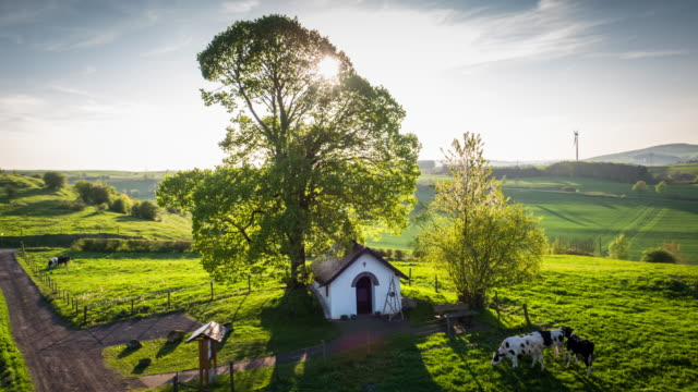 rural summer landscape in germany - aerial - ranch stock videos & royalty-free footage