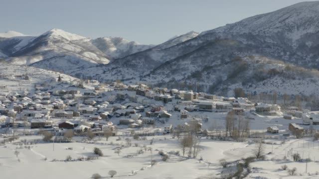 A rural village aerial view in León Mountains next to Picos de Europa