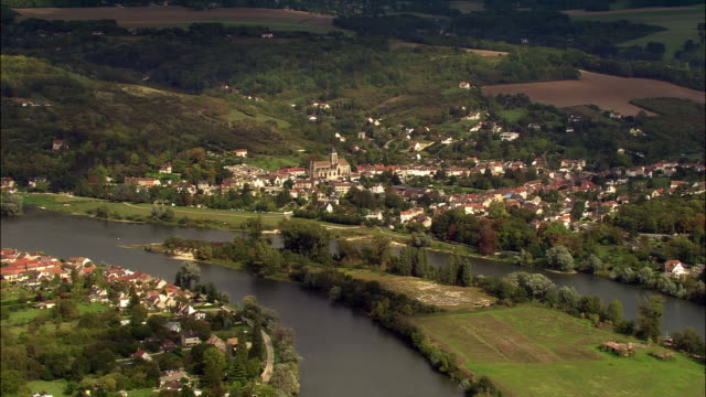 aerial rural village on seine/ mantes-la-jolie, france - river seine stock videos & royalty-free footage