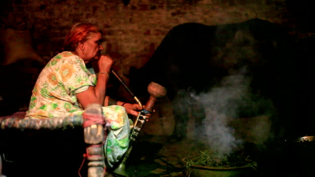 rural village women enjoying hookah at night in stable - smoking issues stock videos & royalty-free footage