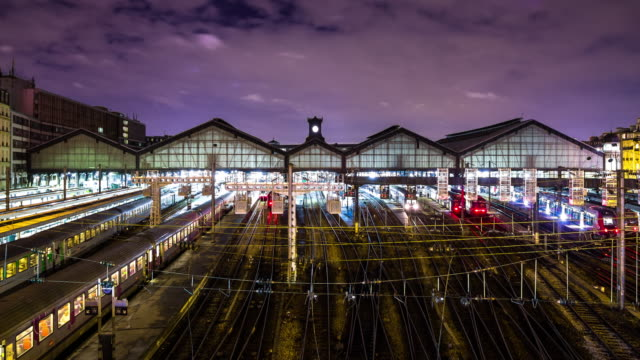 Rush Hour at Gare Saint-Lazare Train Station Timelapse