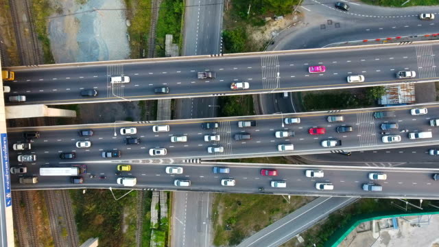 rush hour highway traffic in bangkok, thailand, aerial video, overhead shot - tall high stock videos & royalty-free footage