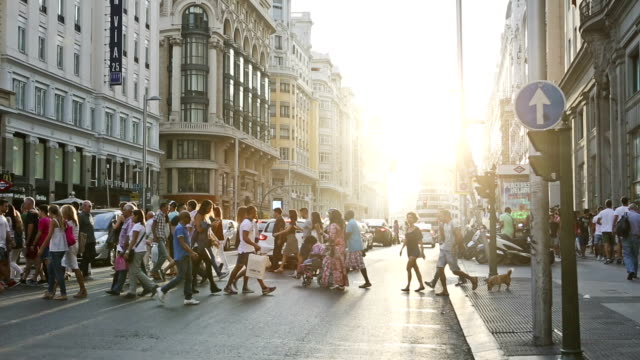 Rush hour in Gran Via, Madrid