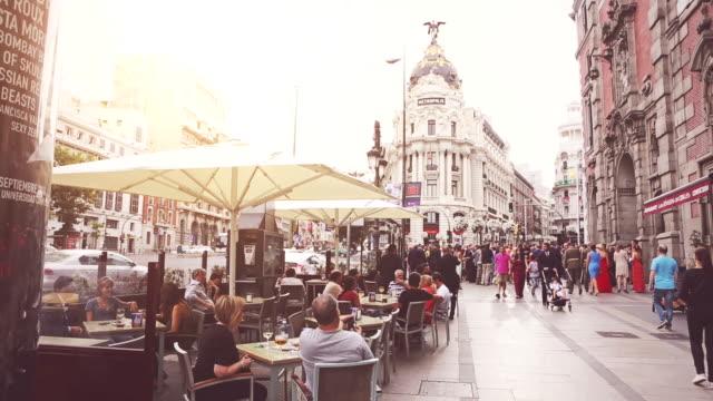 Rush hour in Gran Via, Madrid