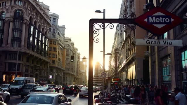 Rush hour in Gran via of Madrid
