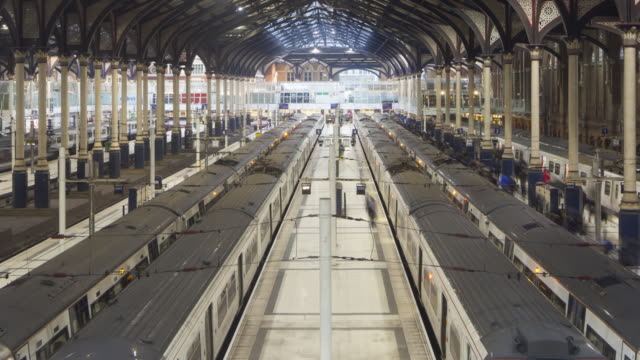 Rush hour in London Liverpool Street railway station.