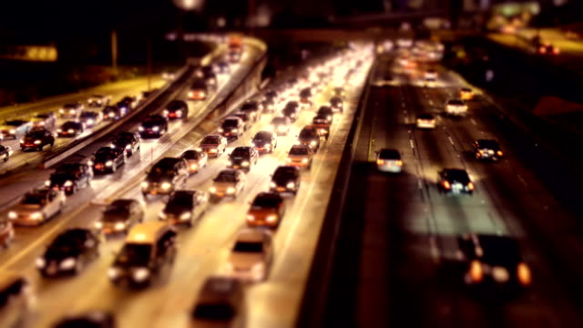 rush hour night traffic on la - timelapse - tilt shift stock videos and b-roll footage