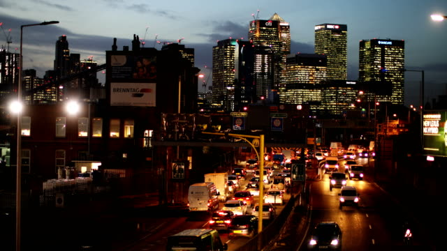 rush hour traffic begins to buid up heading north through the blackwall tunnel past the canary wharf business district on january 17, 2018 in london,... - north stock videos & royalty-free footage