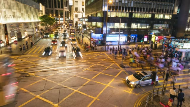 stockvideo's en b-roll-footage met rush hour traffic in central, hong kong, financial district, time lapse, hong kong, china, asia - hong kong