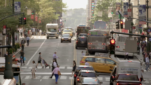 rush hour traffic jam time lapse of commuters in new york city. urban metropolis lifestyle background