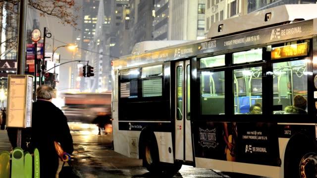 rush hour traffic, mta, metropolitan transportation authority, public transportation buses, mass transit, midtown manhattan, 42nd street, new york... - 2013 stock videos & royalty-free footage