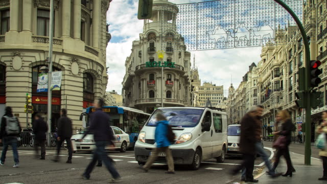 Rush Hour Traffic on Calle Gran Via, Madrid (Motion Control Timelapse)