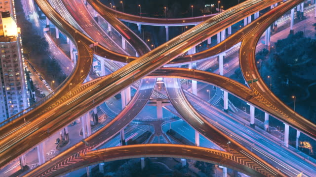 TL Rush Hour Traffic on Multiple Hightways and Flyovers, Shanghai, China
