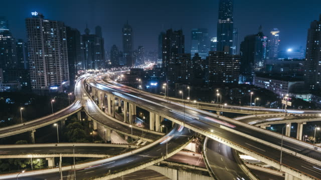 T/L MS HA Rush Hour Traffic on Multiple Highways and Flyovers at Night / Shanghai, China