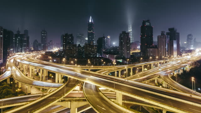 T/L WS HA ZO Rush Hour Traffic on Multiple Highways and Flyovers at Night / Shanghai, China