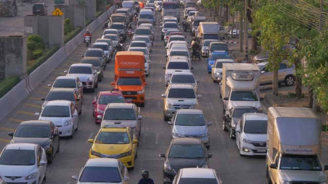 rush hour traffic on multiple highways at bangkok, thailand - trapped stock videos & royalty-free footage