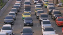 Rush Hour Traffic on Multiple Highways at Bangkok, Thailand